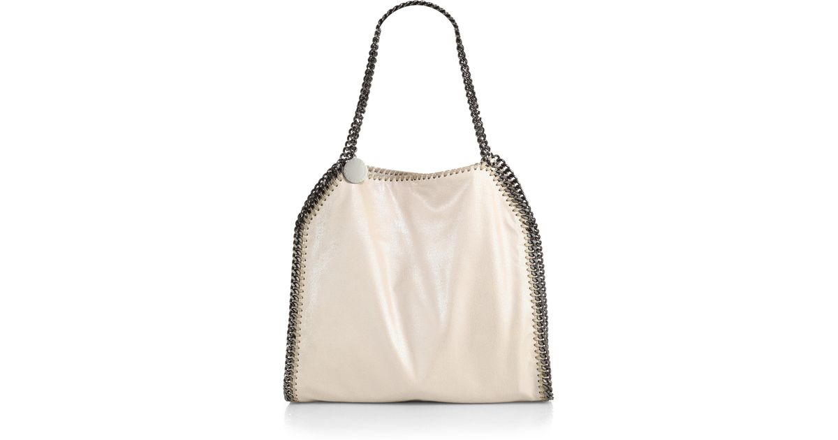5faa0da6bcd Lyst - Stella McCartney Falabella Mini Fold-Over Tote Bag in Natural