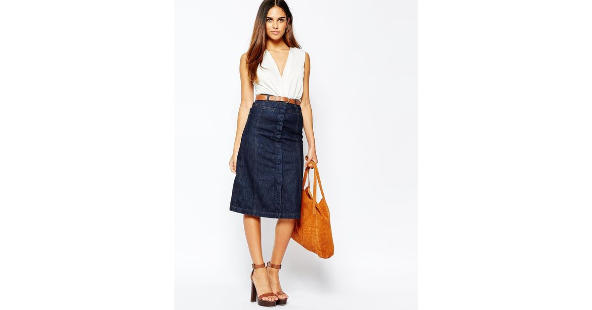 warehouse midi a line skirt wash in blue lyst
