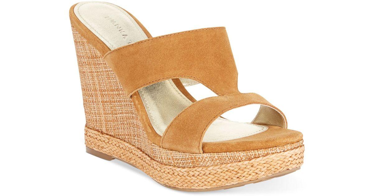 57b4125a1aaa Lyst - Ivanka trump Hotty Platform Wedge Sandals in Brown
