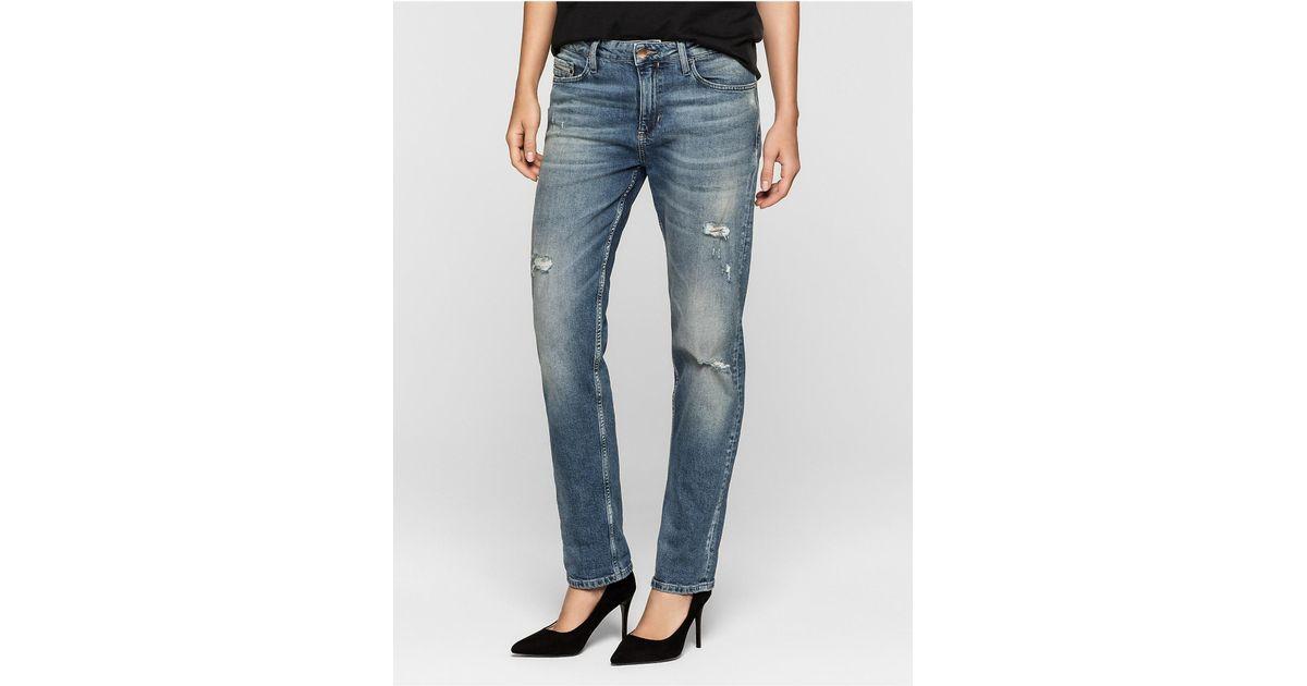 Ripped Boyfriend Jeans - Blue riddim destruct Calvin Klein LKsHMowyZy