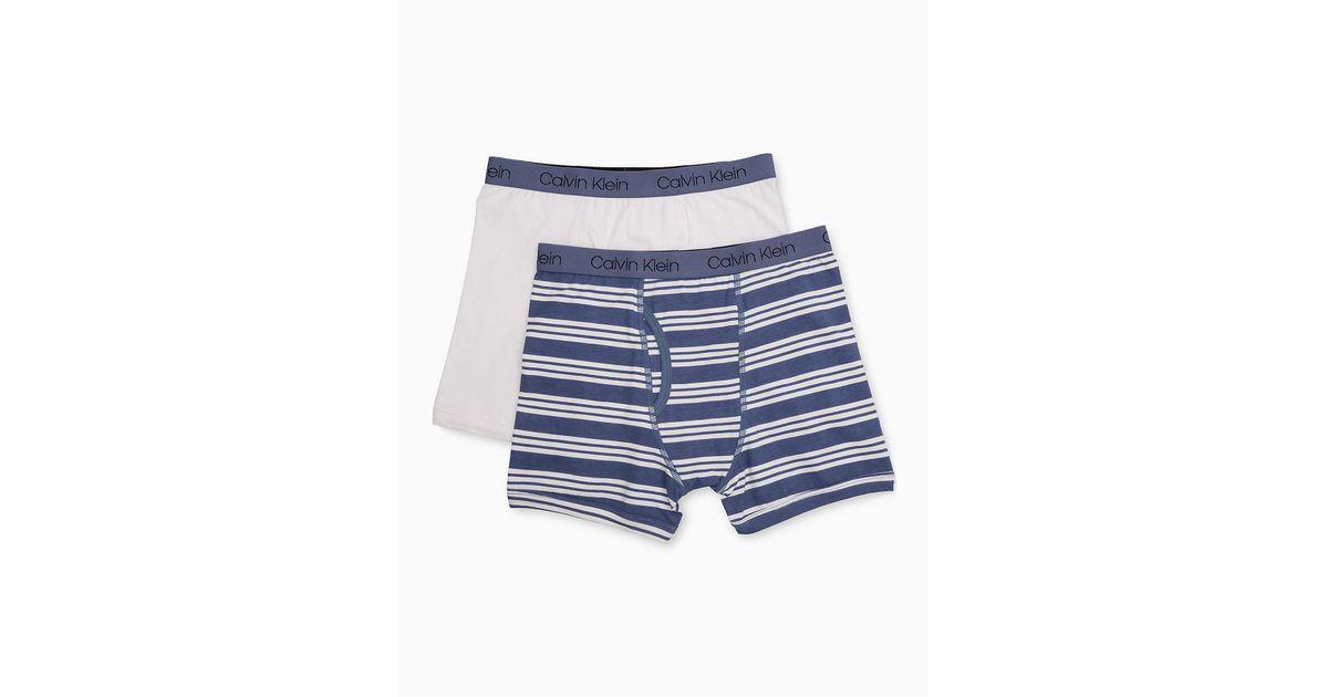 0b645b82fe64dc Lyst - Calvin Klein Boys 2-pack Cotton Stretch Logo Boxer Briefs in Blue  for Men
