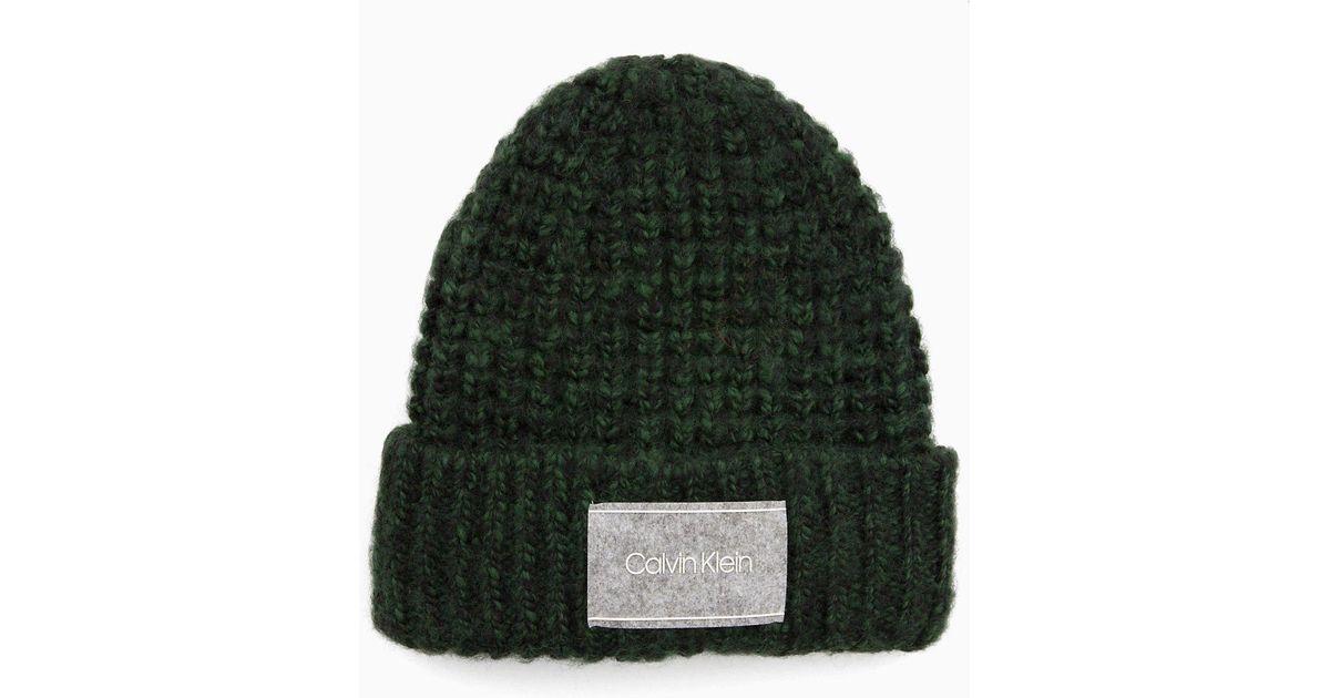 60fa532d9a5 Calvin Klein Chunky Wool Blend Beanie in Black - Lyst