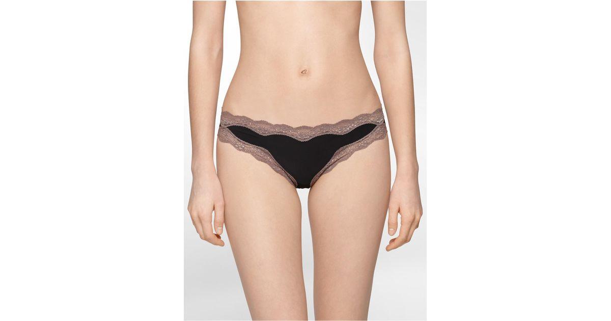 31645128cdd Lyst - Calvin Klein Underwear Thong With Lace in Black