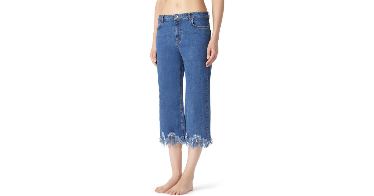 f06319a56 Lyst - Calzedonia Cropped Frayed Jeans in Blue