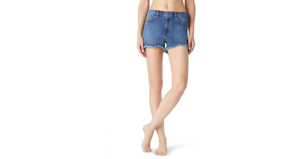 8ee3ed223 Calzedonia Frayed Denim Shorts in Blue - Lyst