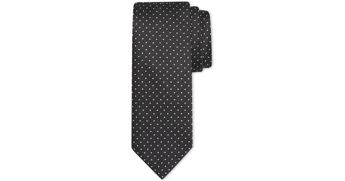 e3e320a3740f Canali Black Tie With White Micro Polka Dot Motif In Pure Silk in Black for  Men - Save 30% - Lyst