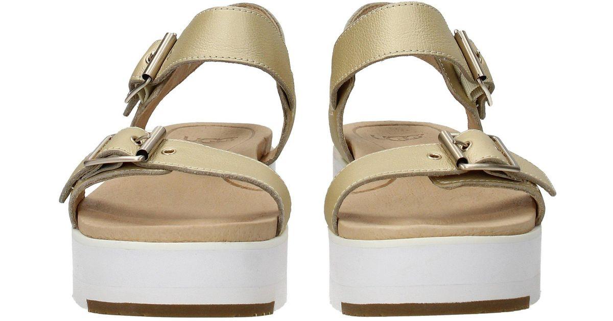 40f1f52b77c Ugg - Metallic Sandals Angie Women Gold - Lyst