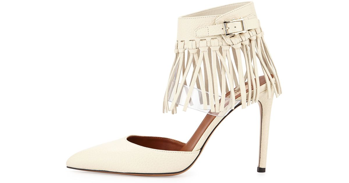 7431aba565ba Lyst - Valentino Illusion Fringe Ankle-wrap Pump in White