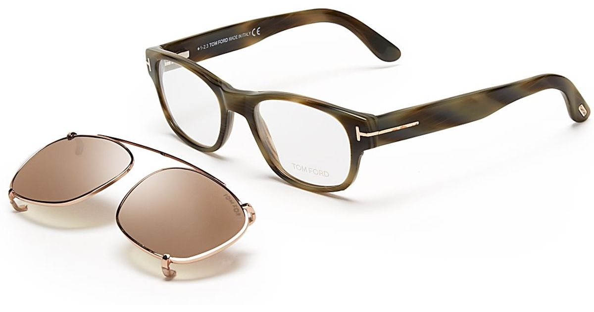 c5b9b9e2d919 Lyst - Tom Ford Hollywood Collection Snowden Optical Frames with Sunglasses  Clip in Green