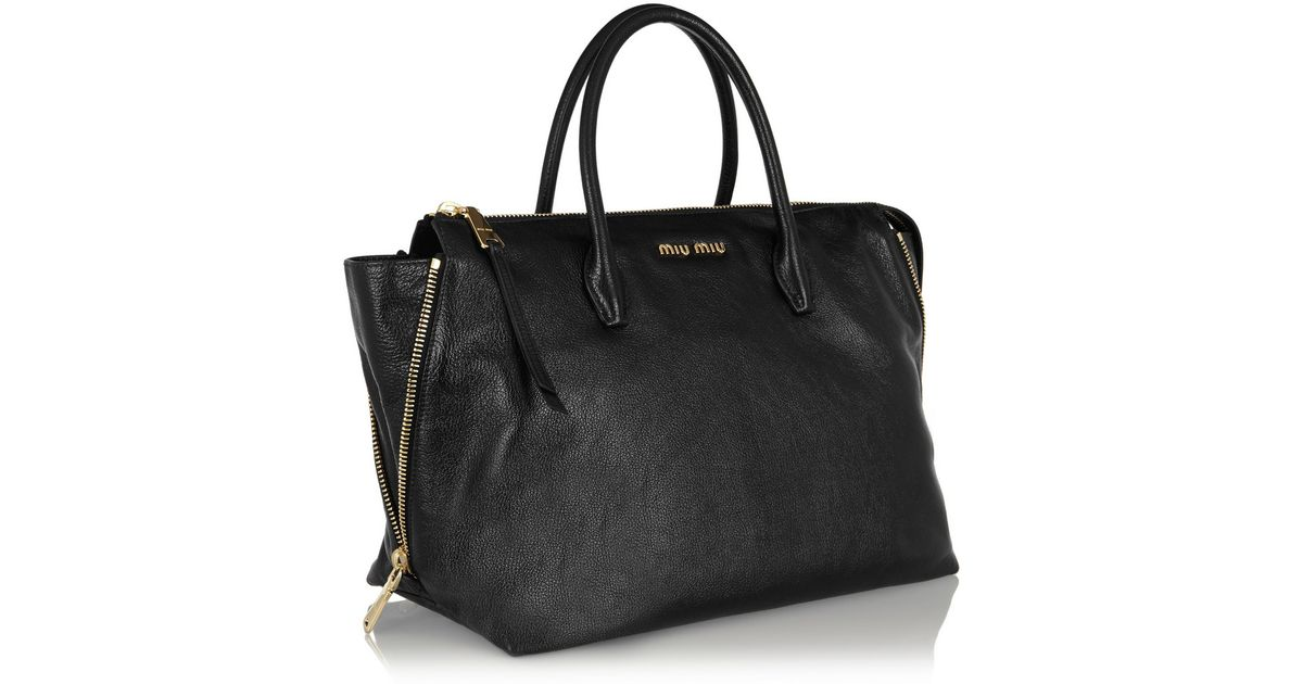 miu miu madras textured leather tote in brown lyst. Black Bedroom Furniture Sets. Home Design Ideas