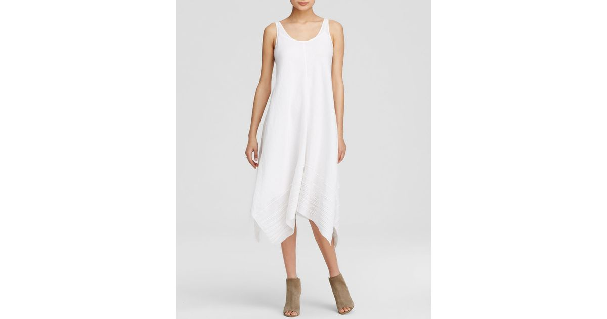 6dd34168bb3 Lyst - Eileen Fisher Linen Scoop Neck Tank Dress in White