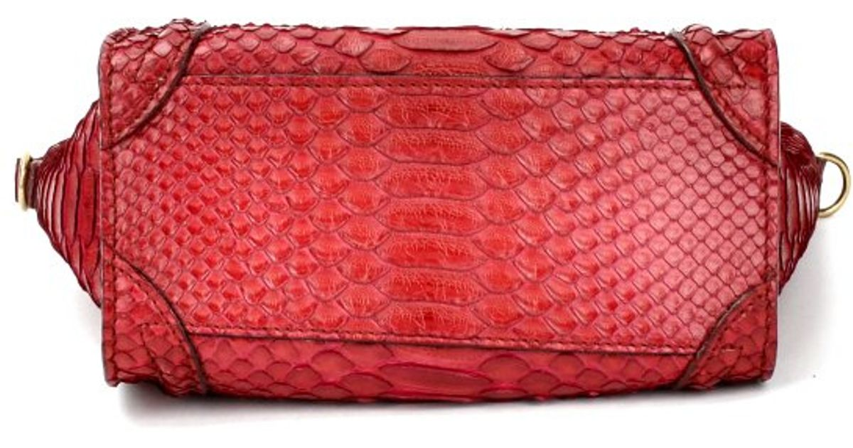 C¨¦line Pre-owned Red Exotic Leather Nano Luggage in Red | Lyst