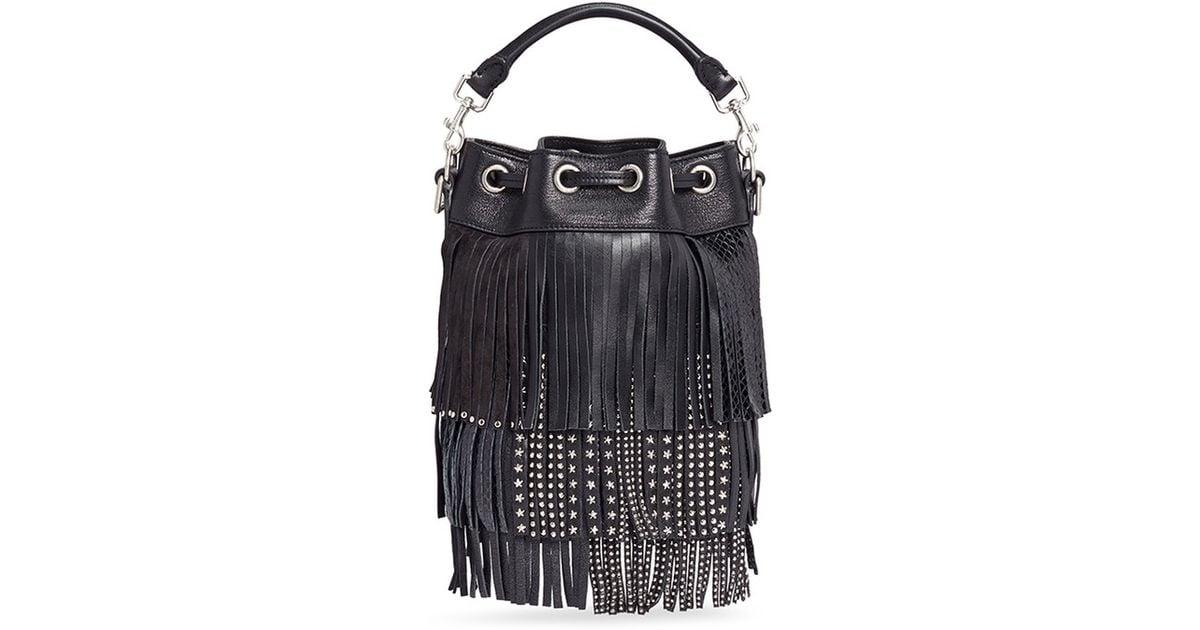 fb34a37a79 Saint Laurent 'emmanuelle' Small Stud Fringe Leather Bucket Bag in Black -  Lyst