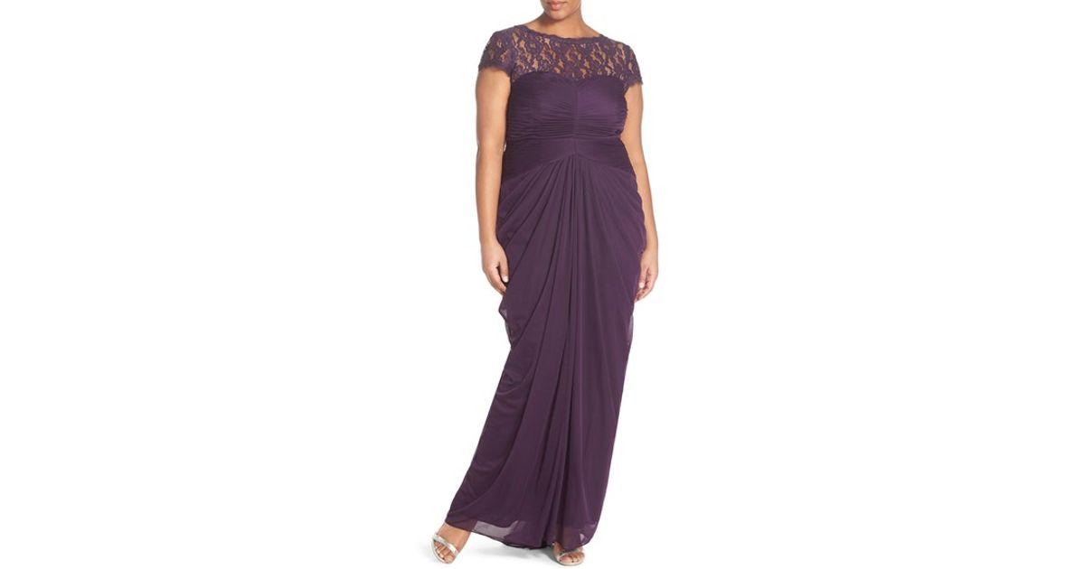 Lyst - Adrianna Papell Lace Yoke Drape Mesh Gown in Purple