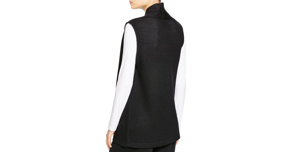 Eileen fisher Merino Wool Sweater Vest in Black | Lyst