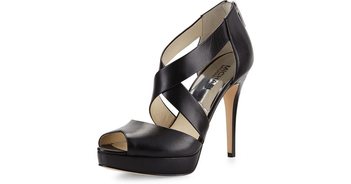 49805589193 Lyst - MICHAEL Michael Kors Ariel Platform Criss-Cross Sandals in Black
