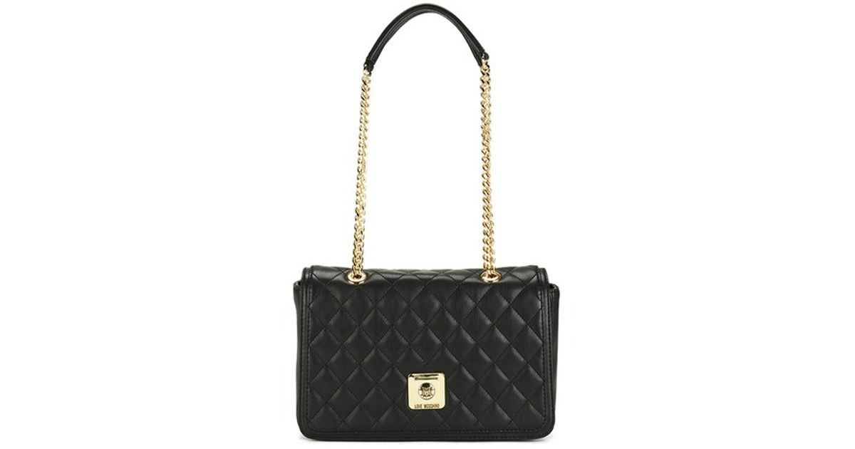 Love Moschino Women s Quilted Shoulder Bag With Chain Strap Detail in Black  - Lyst 6109ac17e2