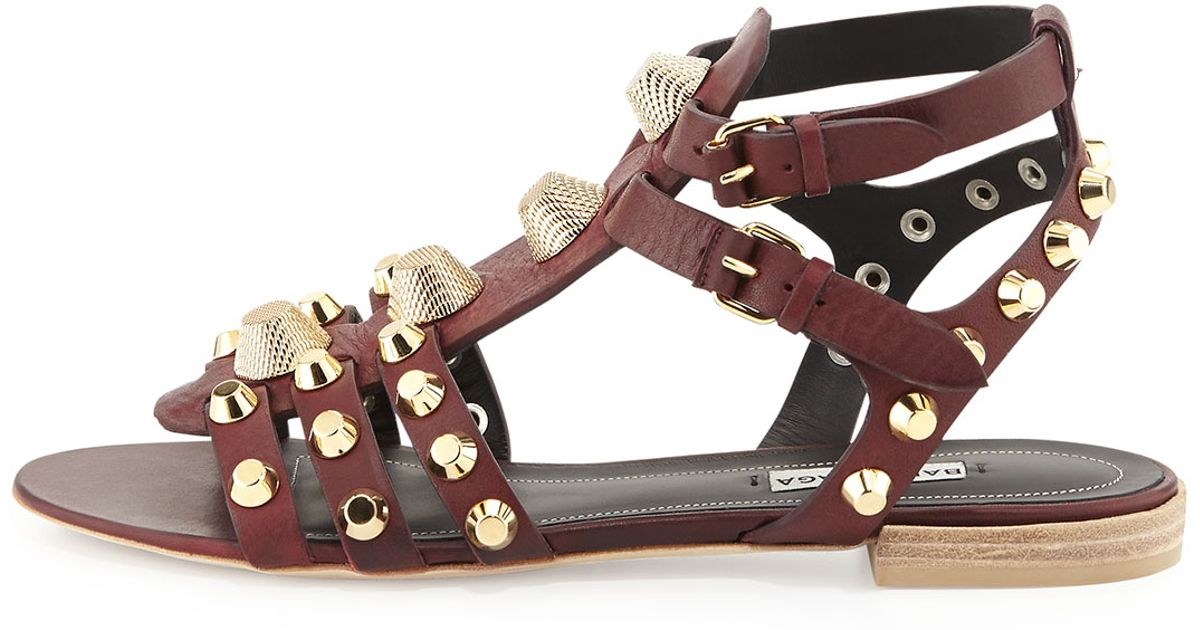 a803c60773d Lyst - Balenciaga Arena Gladiator Flat Sandal in Red