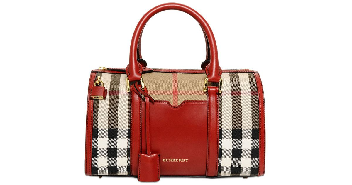 3f88bb46f31b Lyst - Burberry Medium Alchester Bridle Check Bag in Red