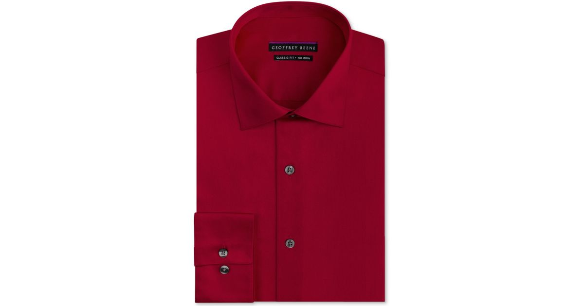 Geoffrey beene big and tall classic fit wrinkle free sateen solid dress shirt in red for men lyst - How to unwrinkle your clothes with no iron ...