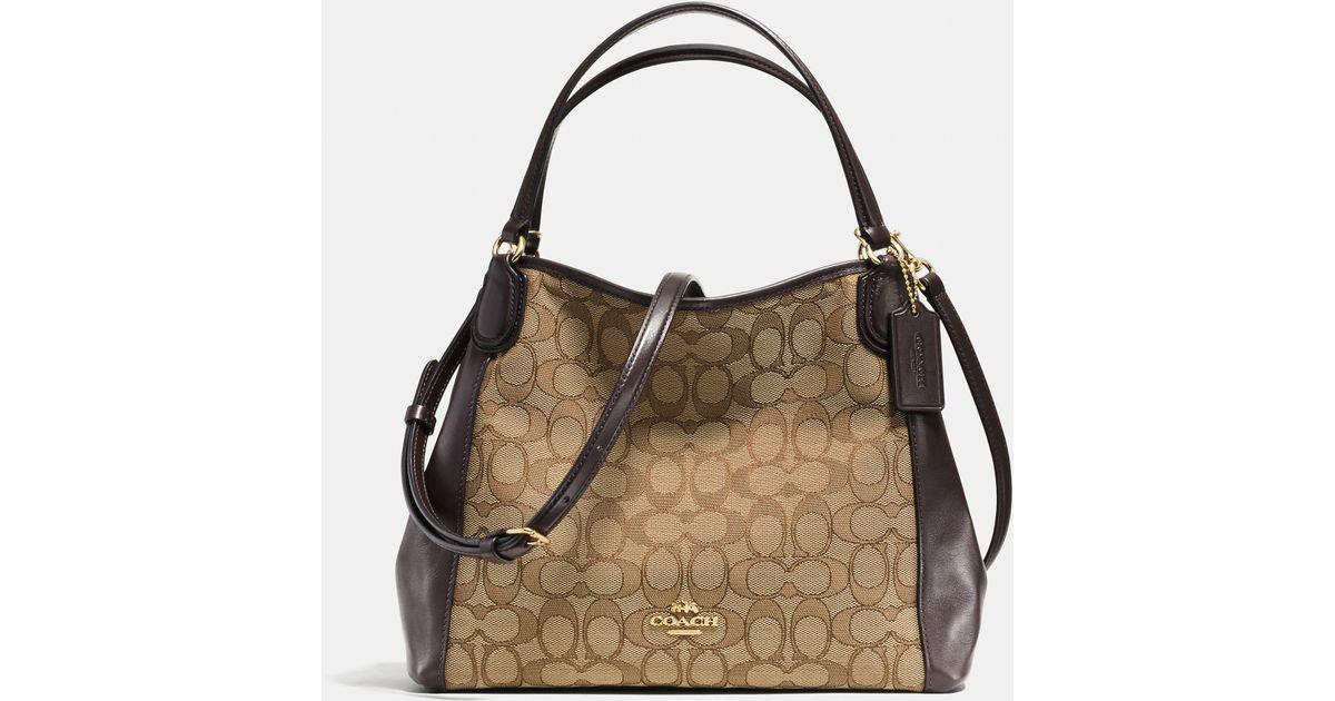Lyst - COACH Edie Shoulder Bag 28 In Signature Jacquard in Brown 30895c9702