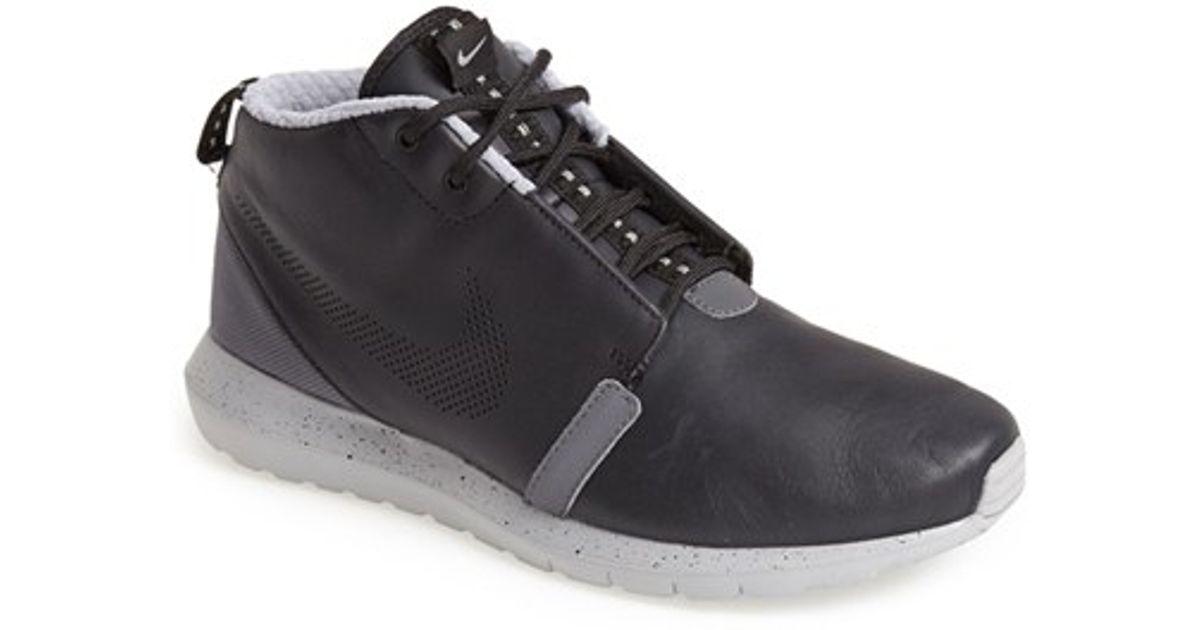 fe94f4c675f9 Lyst - Nike  roshe Run Premium  Water Resistant Leather Sneaker Boot in  Black for Men