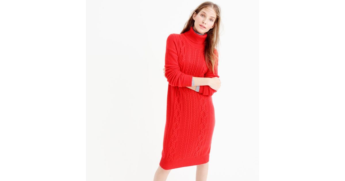 cable turtleneck sweater dress in red lyst. Black Bedroom Furniture Sets. Home Design Ideas