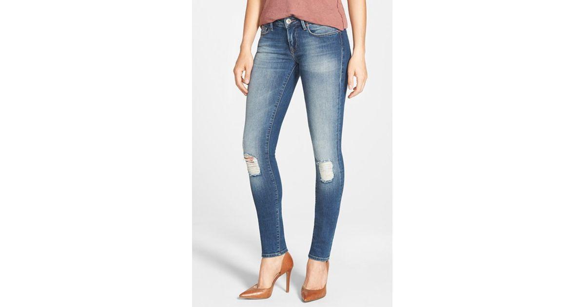 mavi jeans 39 serena 39 distressed stretch skinny jeans in. Black Bedroom Furniture Sets. Home Design Ideas