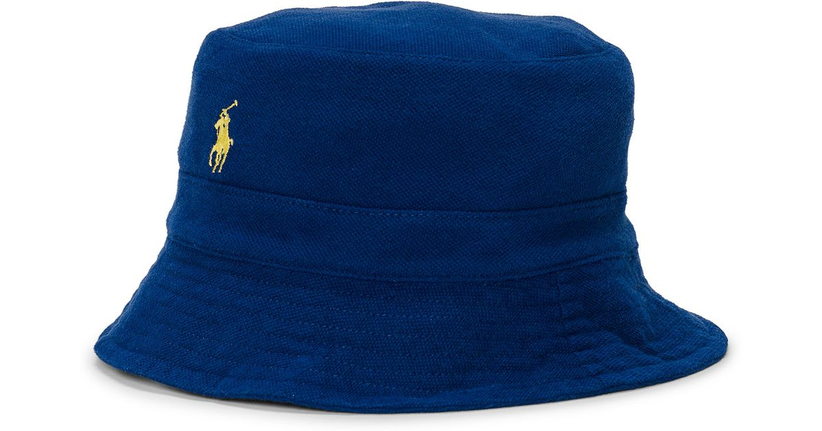 Lyst - Polo Ralph Lauren Cotton Mesh Bucket Hat in Blue for Men 238b68bf3e6