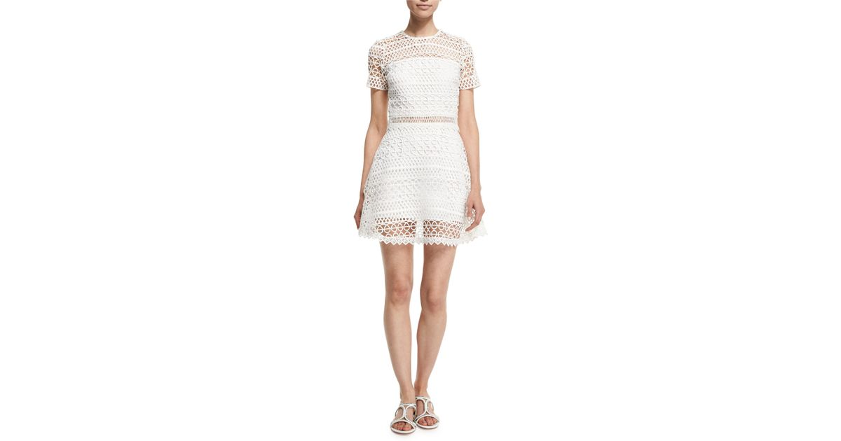 cc3f2adf3 Lyst - Karina Grimaldi Vincent Short-sleeve Crochet Mini Dress in White