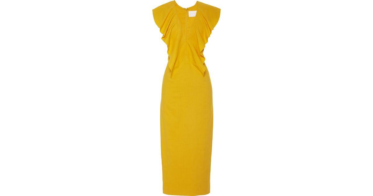 4582a72fb9ac Cushnie et Ochs Vneck Stretch Linen Marigold Dress in Yellow - Lyst