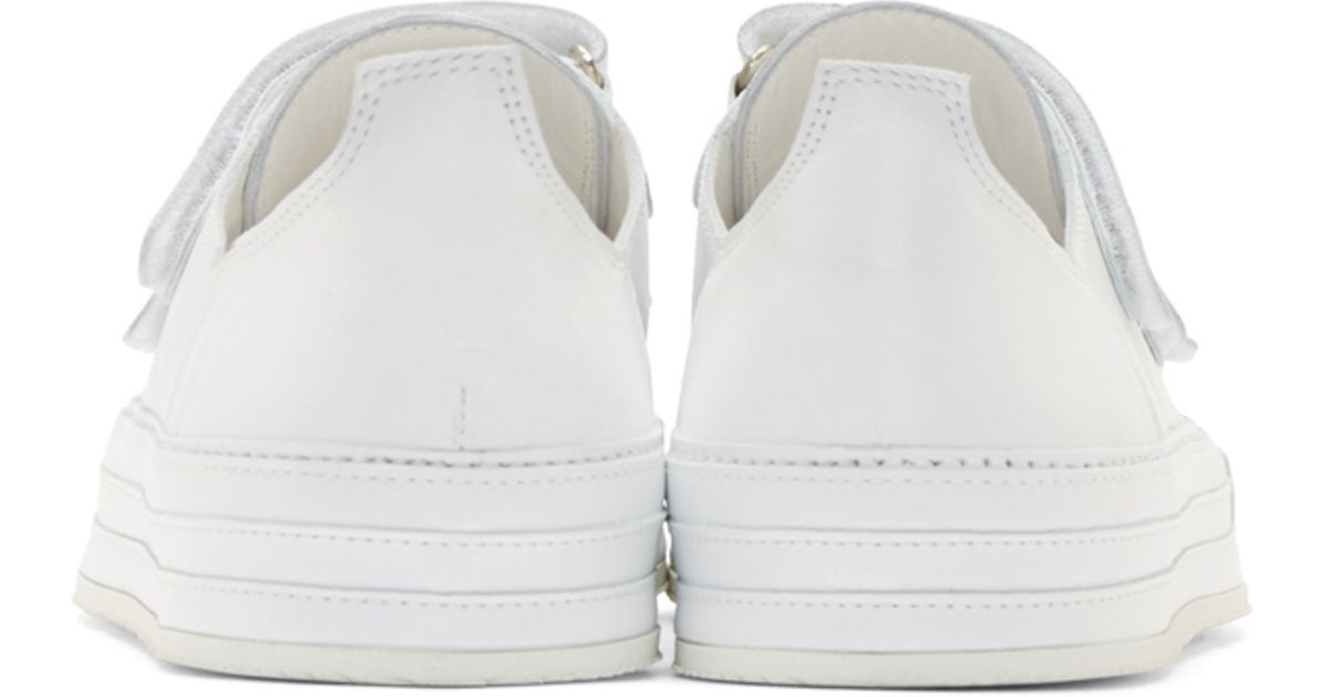 f279daf3058c Ann Demeulemeester White Leather Velcro Sneakers in White for Men - Lyst
