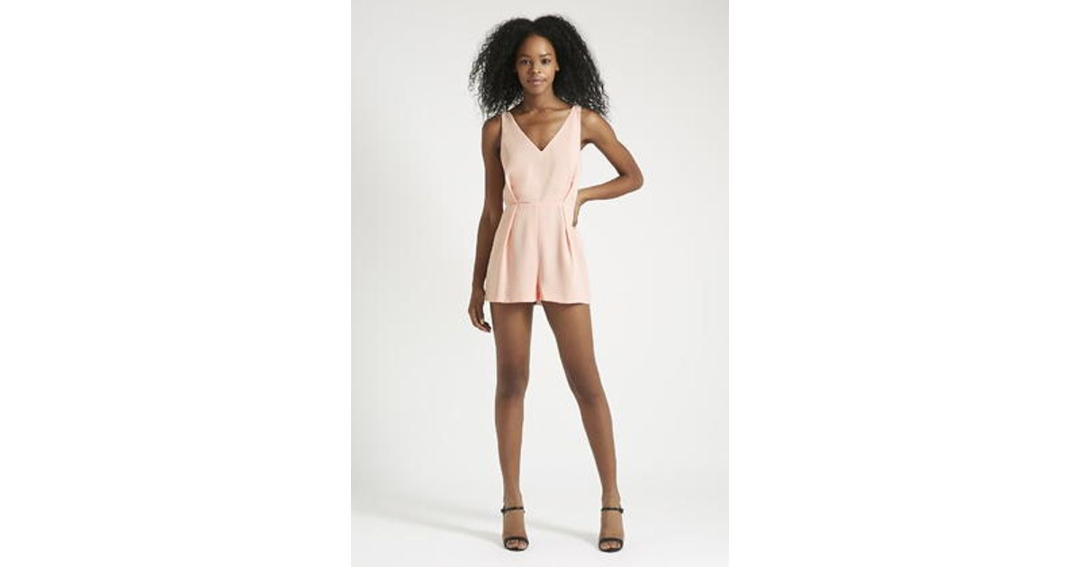 720bba7acda Lyst - TOPSHOP Petite Lace Back Playsuit in Pink