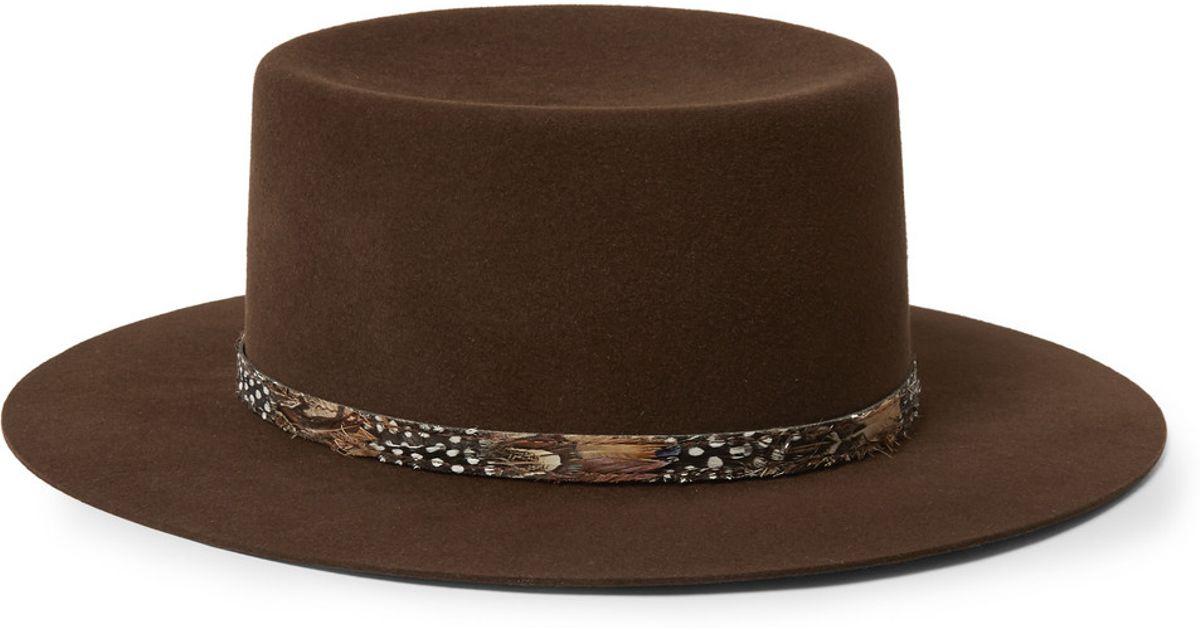 Lyst - Saint Laurent Feather-Trimmed Rabbit-Felt Fedora Hat in Brown for Men a94fdbc2910