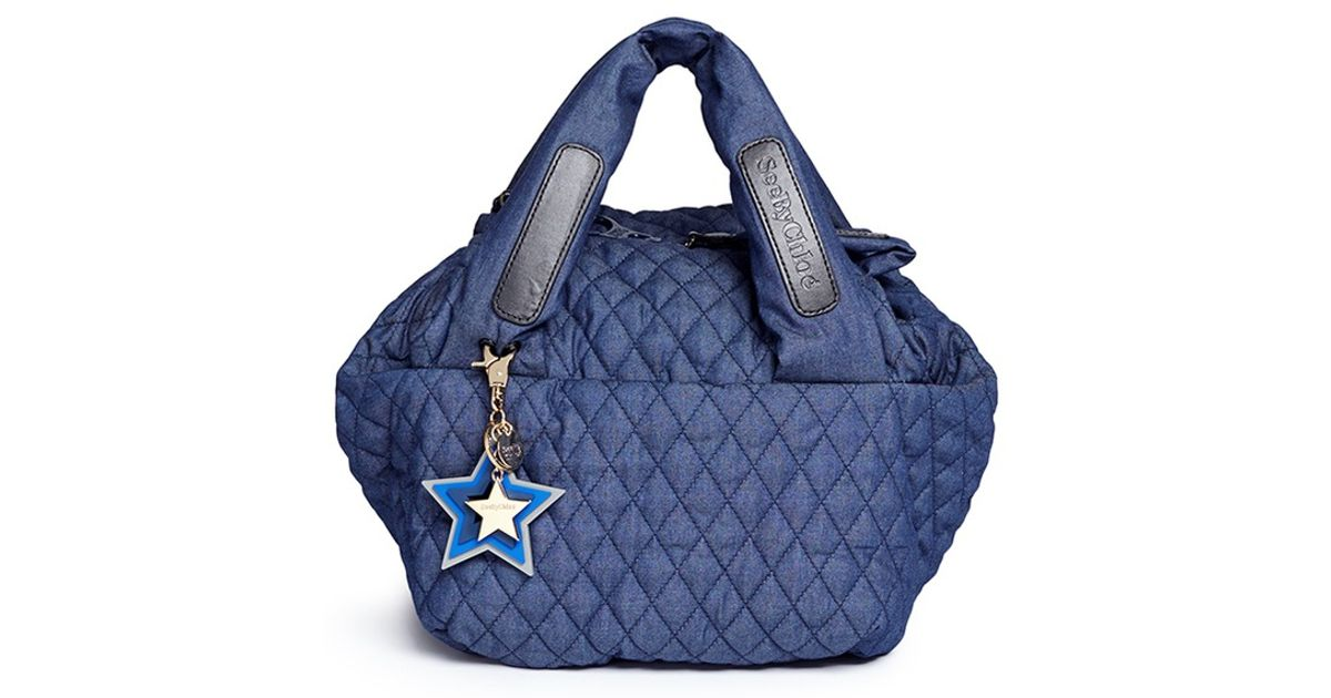 Lyst See By Chloé Joy Rider Small Quilted Cotton Denim Shoulder Bag In Blue
