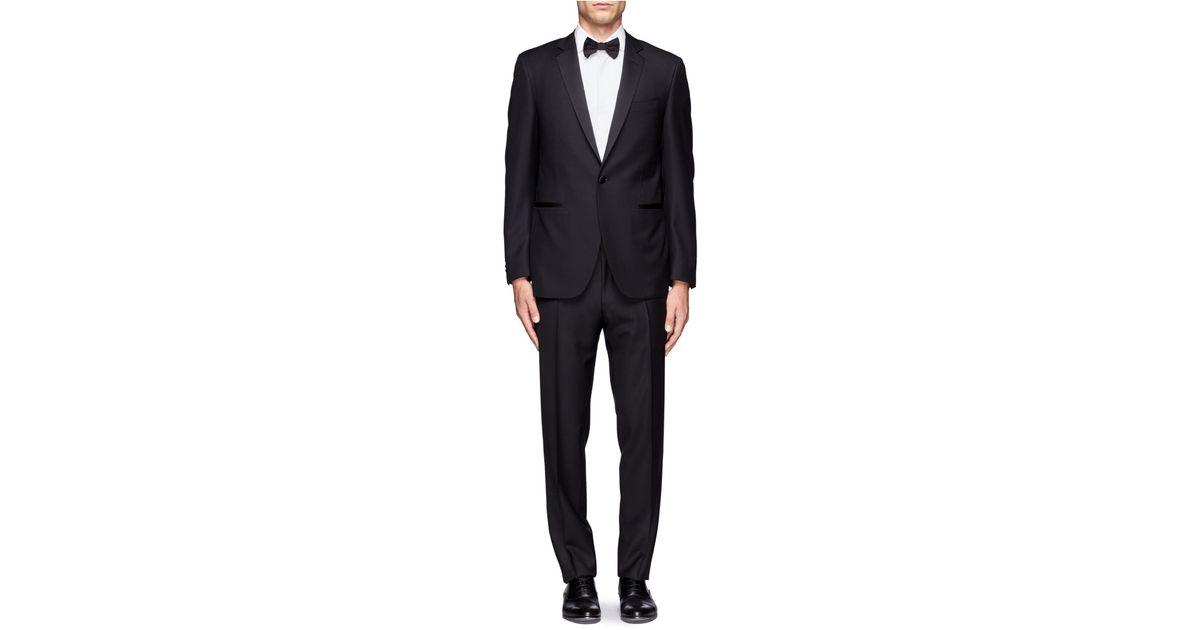2f59653e437 Canali Satin Lapel Wool Tuxedo Suit in Black for Men - Lyst