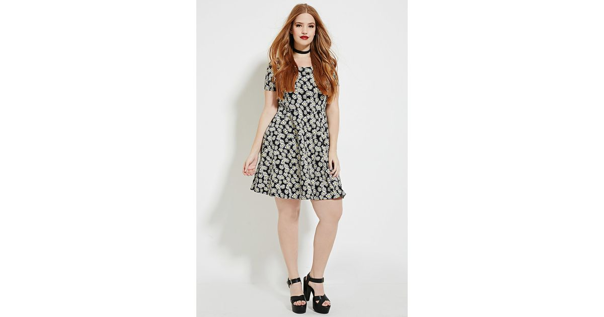 Lyst Forever 21 Plus Size Daisy Print Dress In Black