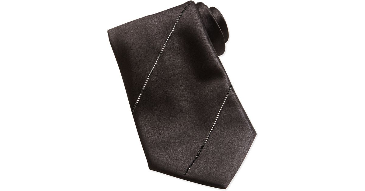 b23fc9c0adf5 Stefano Ricci Pleated Crystal Silk Tie Black in Black for Men - Lyst