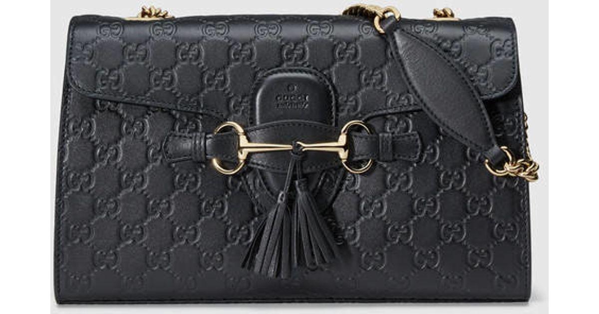 94840a23357c Lyst - Gucci Emily Ssima Chain Shoulder Bag in Black