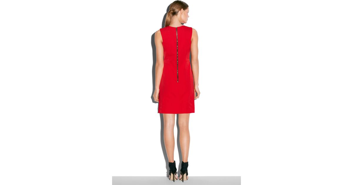 2514cea2be0 MILLY Sleeveless Shift Dress in Red - Lyst