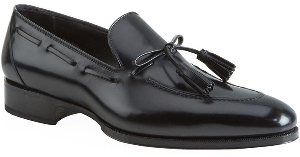 71909aa0cb1 Tom Ford Austin Leather Tassel Loafer in Black - Lyst