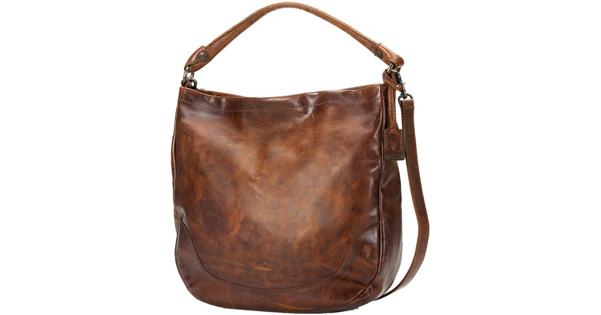 19e2152461b61d Frye Melissa Tumbled Leather Hobo Bag in Brown - Lyst