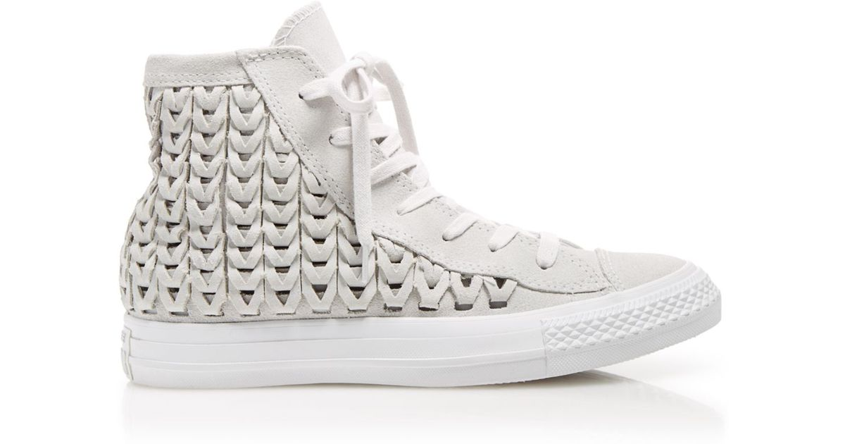 f36e5184471a Lyst - Converse High Top Sneakers - Suede Woven in Natural