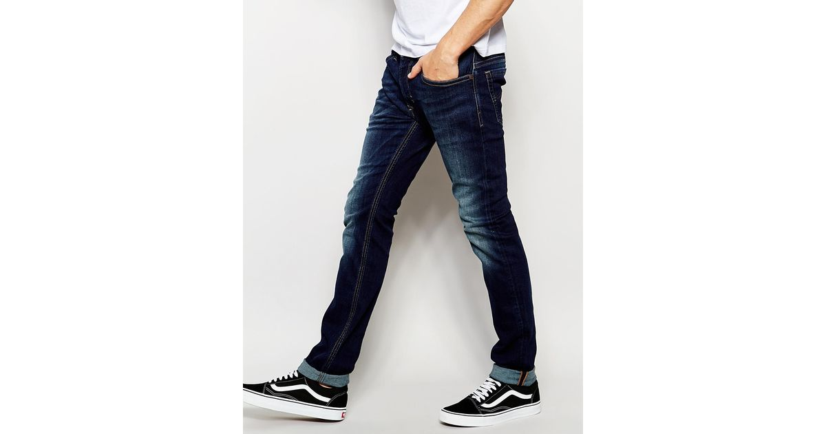 49c0ad4c DIESEL Jeans Thavar 814w Slim Fit Stretch Mid Wash in Blue for Men - Lyst