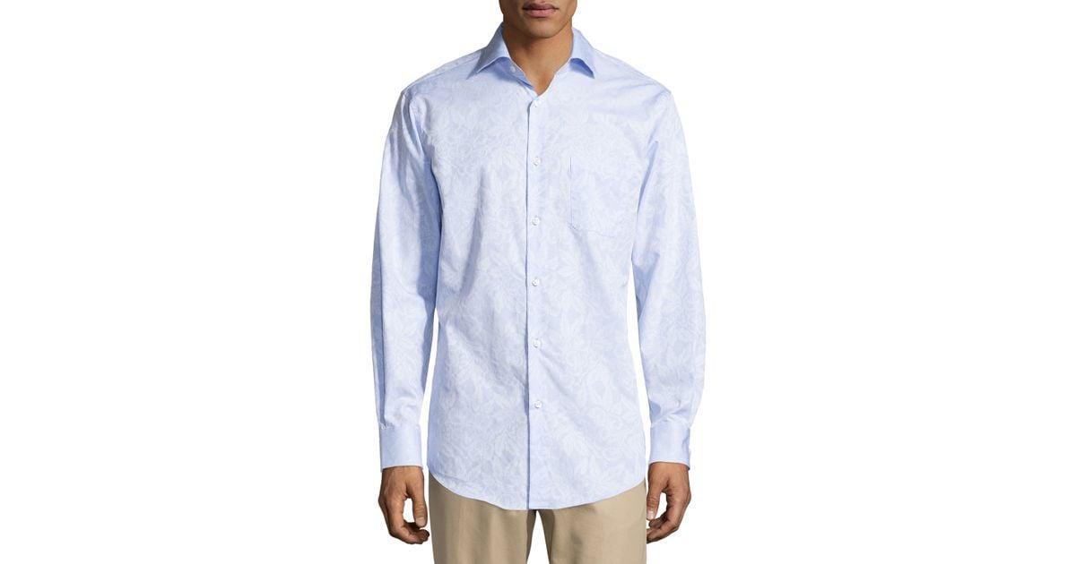 Neiman marcus jacquard no iron dress shirt in blue for men for Men s no iron dress shirts
