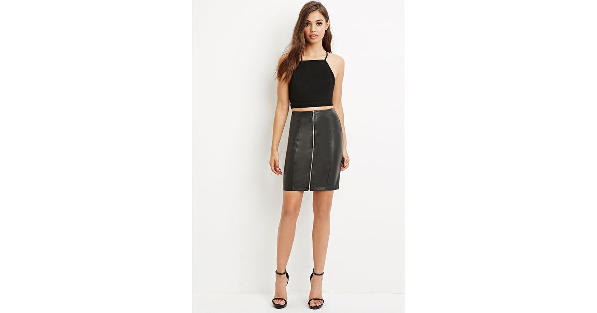 forever 21 zip front faux leather skirt in black lyst