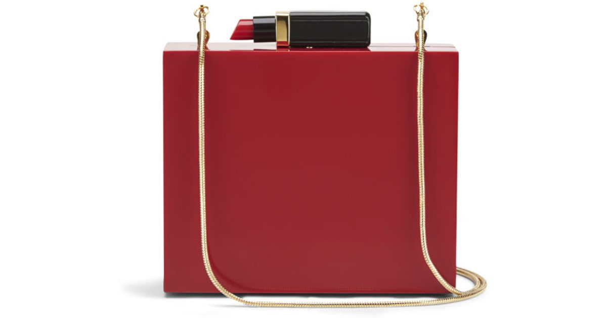 dc2657c25ff Lulu Guinness Perspex Chloe Lipstick Box Clutch Bag in Red - Lyst
