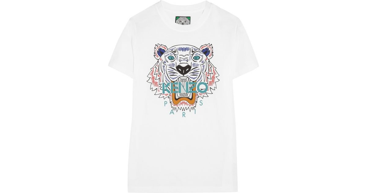 6ed87004f1b0 KENZO Tiger Cotton-Jersey T-Shirt in White - Lyst