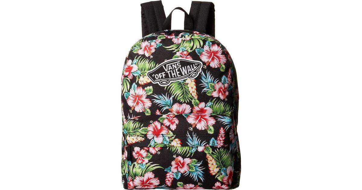 647cf9f561e Lyst - Vans Realm Backpack In Black Hawaiian Print