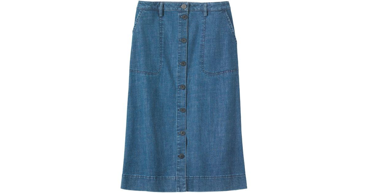 toast denim button through skirt in blue lyst
